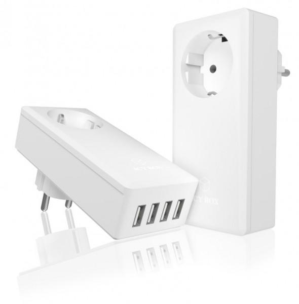 ICY Box USB Schnellladegerät, 4-port, IB-CH404, nur Ladeanschluss! mit EU-Steckdose,