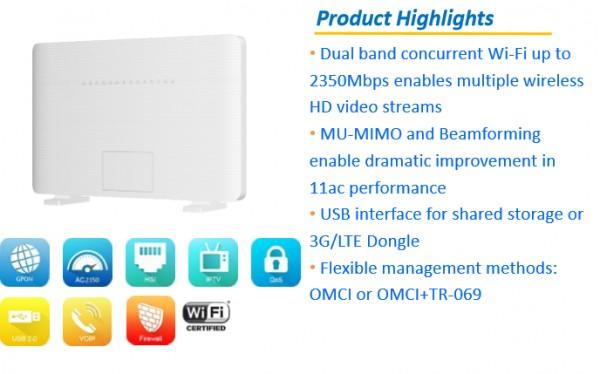 ZTE FTTH GPON F680 V9.0 Wi-Fi AC DualBand Gateway mit 1x GPON Eingang - 4x RJ-45 Gigabit - 2x RJ-11 VOIP und 2x USB Ports