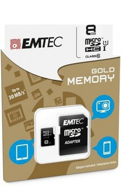 Flash SecureDigitalCard (SD) 8GB *EMTEC* microSDHC Class10 UHS-I 85mb/s