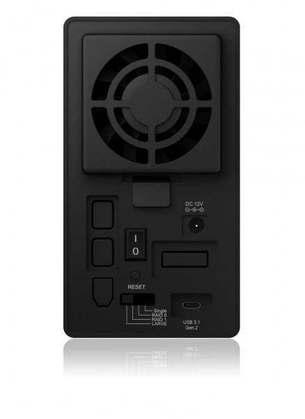"ICY Box Gehäuse, ext.SATA 3,5"" 2x/USB 3.1 Type C, Raid, Black, IB-RD3662-C31,"
