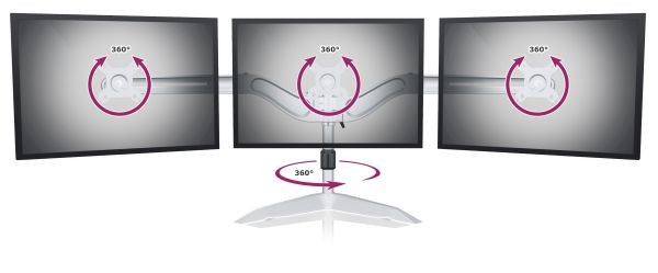 """ICY Box Dreifach-Ständer für 3 Monitore bis 24"""", Metall Material, Silber, IB-AC639,"""
