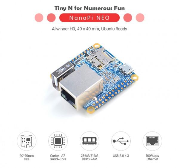 FriendlyELEC NanoPi Neo LTS - 512MB QuadCore Allwinner H3 Quadcore A7 1,2ghz ohne Stiftsockelleiste