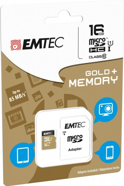 Flash SecureDigitalCard (SD) 16GB *EMTEC* Gold+ microSDHC - Class 10 + Adapter